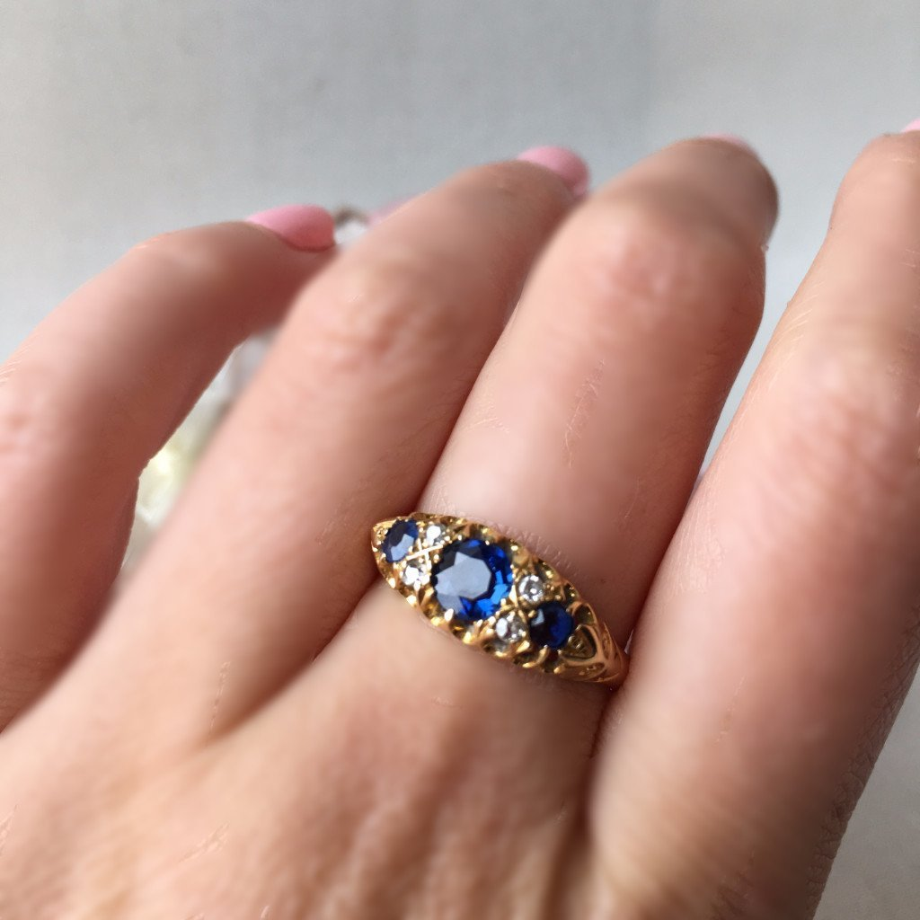 Gem Breakfast Vintage Ring Empire Sapphire And Diamond Ring