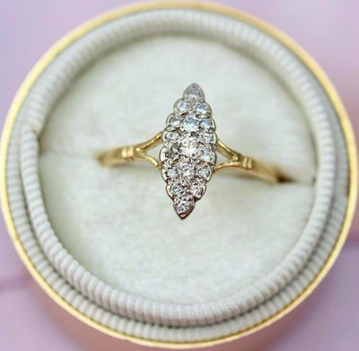 Gem Breakfast Vintage Ring Faith Diamond Navette Ring