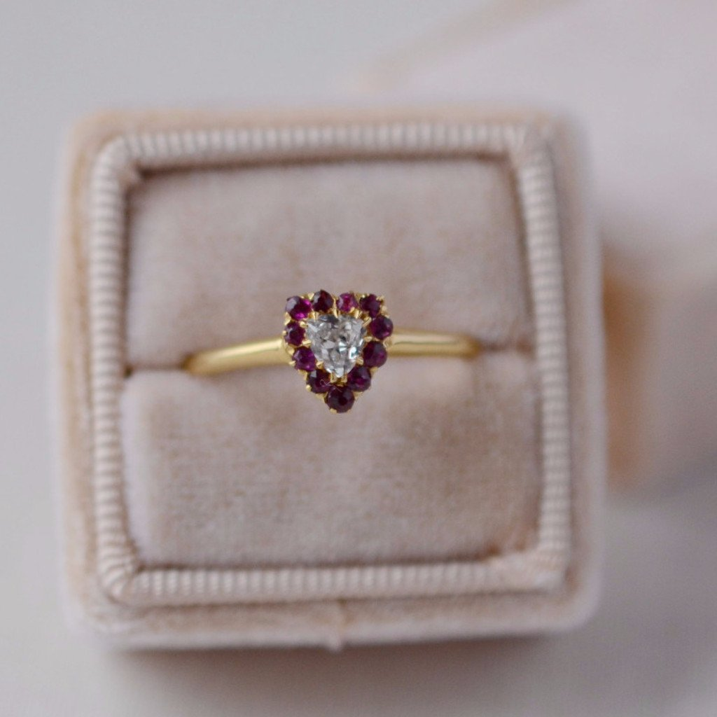 Gem Breakfast Vintage Ring Lovers Heart Diamond And Ruby Ring