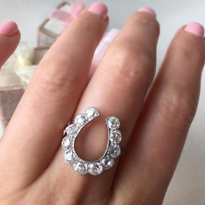 Gem Breakfast Vintage Ring Lucky Horseshoe Diamond Ring