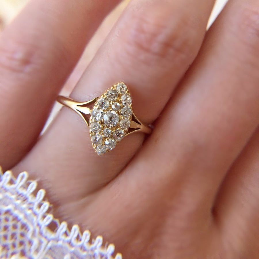 Gem Breakfast Vintage Ring Sarah Vintage Diamond Navette Ring