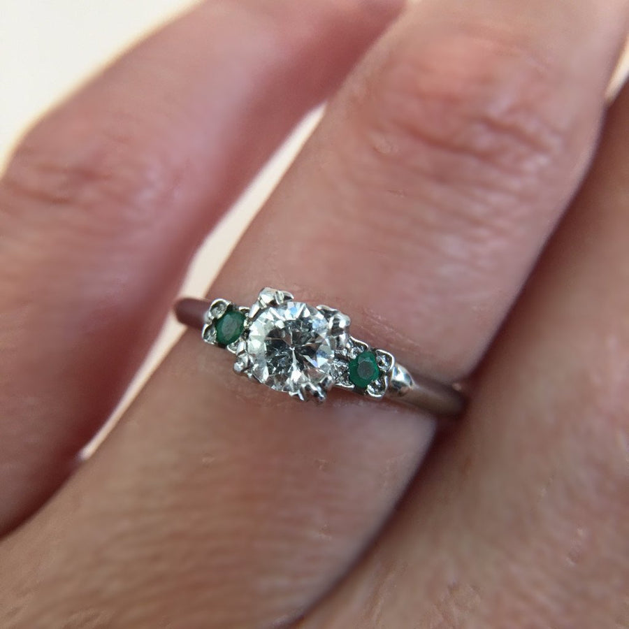 Gem Breakfast Vintage Ring Sophie Diamond and Emerald Ring