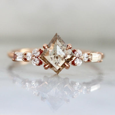 Hidden Space Jewelry Ring Lucky You Champagne Kite Cut Diamond Ring in Rose Gold