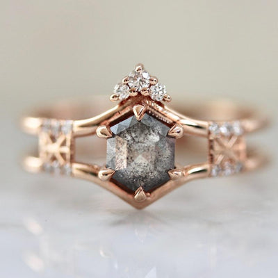 Hidden Space Jewelry Ring Made For Your Hexagon Cut Diamond Ring in Rose Gold