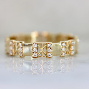 Hidden Space Jewelry Ring Snowflake Diamond Eternity Ring In Yellow Gold