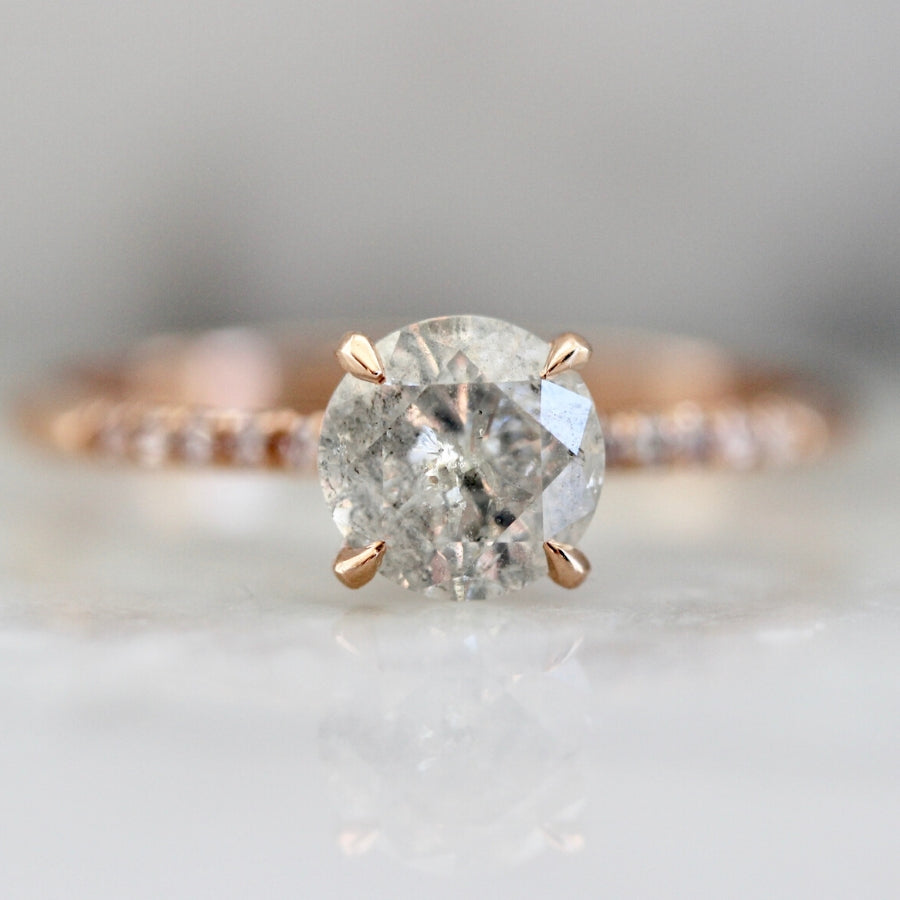 Icey Diamond Stella With Pink Diamond Pave Shoulders In Rose Gold