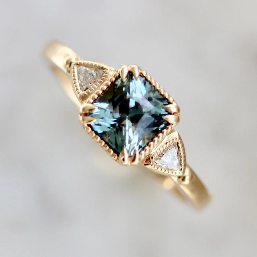 Jilian Maddin Ring Bicoastal Teal Blue Sapphire & Diamond Ring