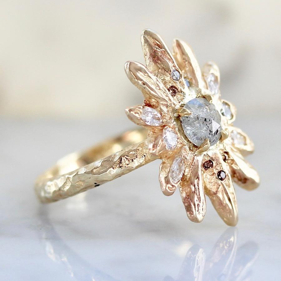 Lacee Alexandra Ring Golden Sun Star Salt and Pepper Diamond Ring