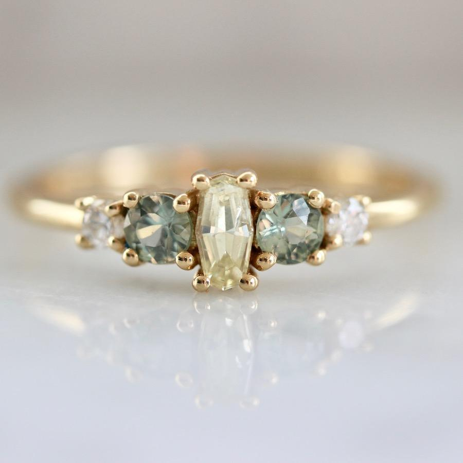 Larisa Lavins Ring Juniper Yellow Diamond and Sapphire Ring