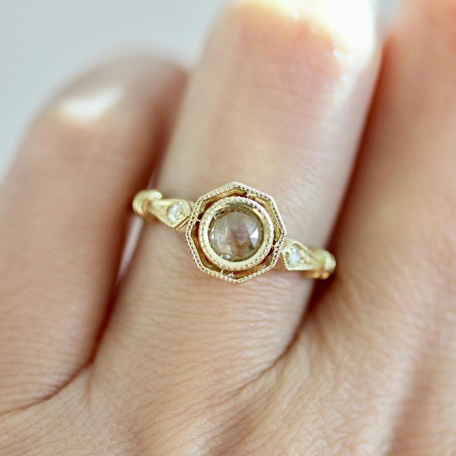 Mason Grace Ring Cosima Peach Rose Cut Diamond Ring
