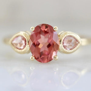 Mason Grace Ring Elodie Pink Tourmaline and Sapphire 3 Stone Ring