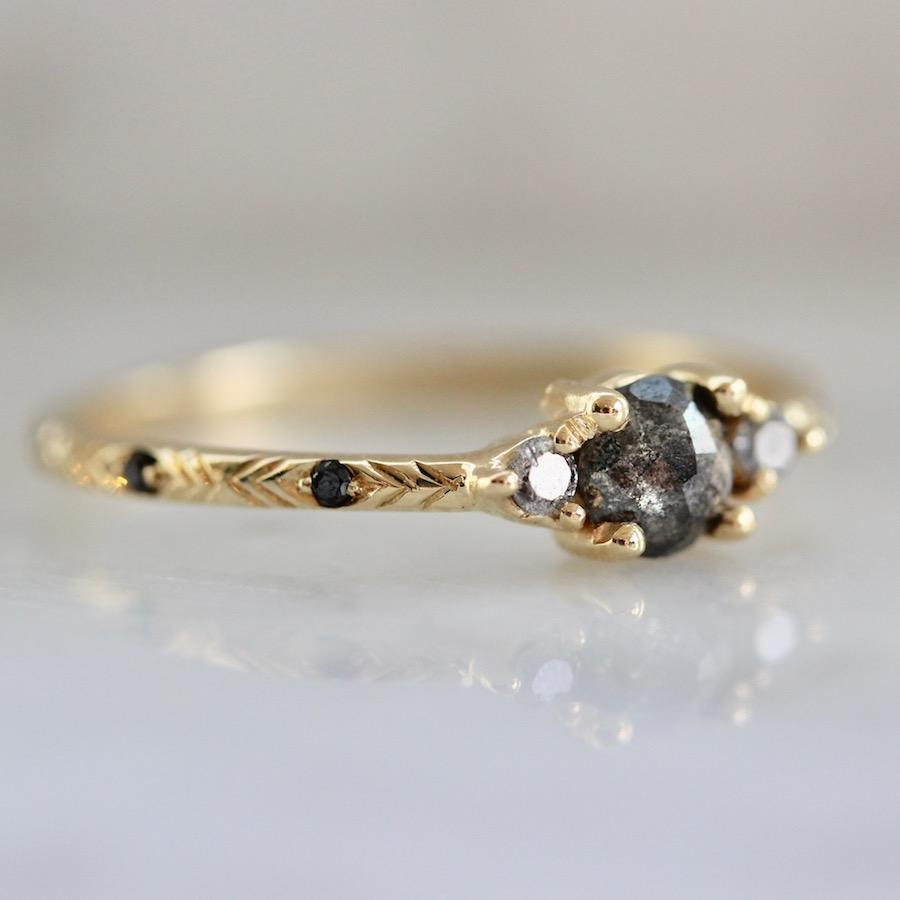 Mason Grace Ring Rowan Charcoal Rose Cut Diamond Ring