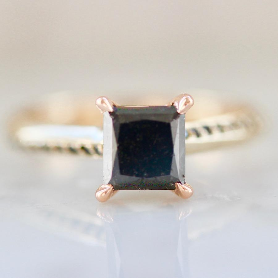 Nick Engel Ring Concord Princess Cut Black Diamond Ring