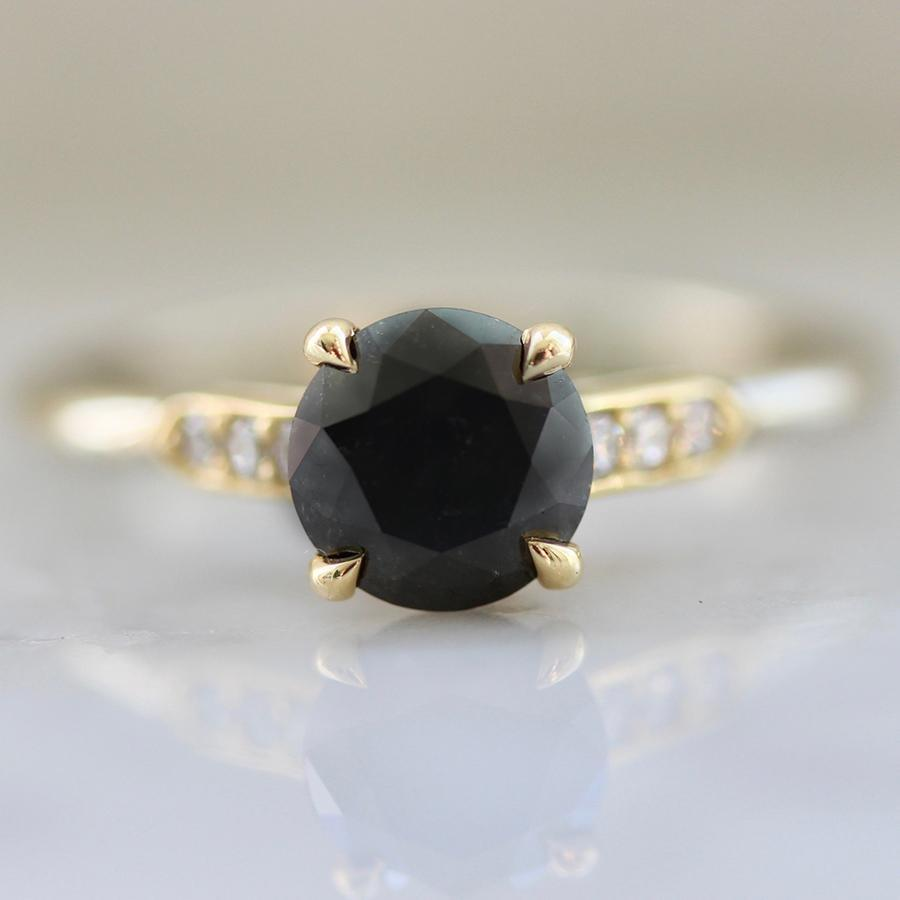 Nick Engel Ring Current Ring Size 6.5 Westcott Round Cut Black Diamond Ring