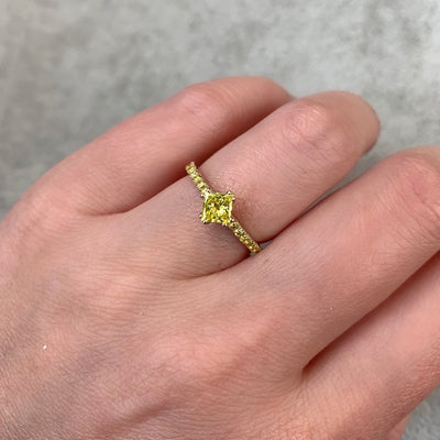 Nick Engel Ring Jackpot Princess Cut Yellow Diamond Ring