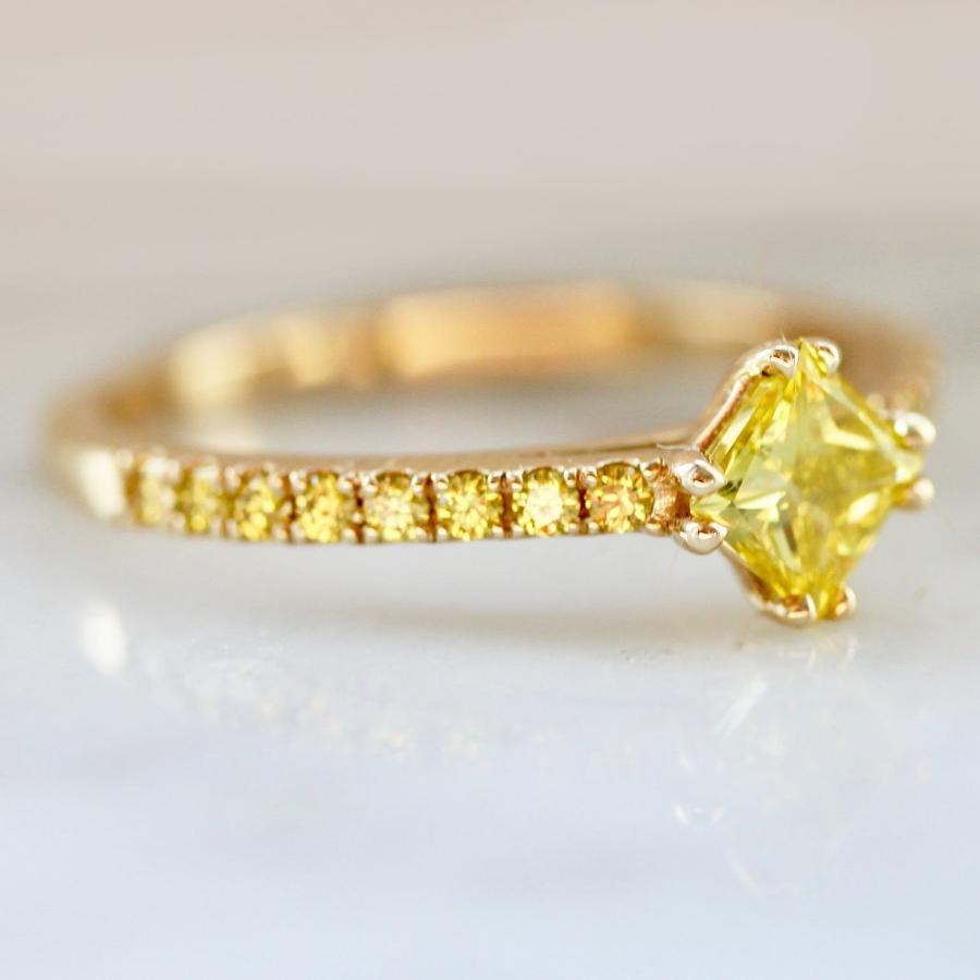 Nick Engel Ring Princess Cut Yellow Diamond Ring