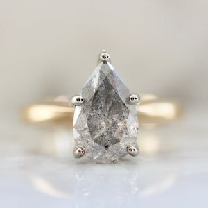 Zahara Salt & Pepper Pear Cut Diamond Ring