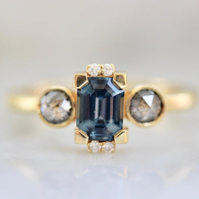 OctaHedron Ring Estella Spinel and Diamond Ring