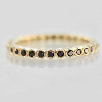 OctaHedron Ring Round Black Diamond Eternity Band