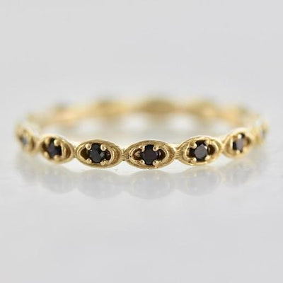OctaHedron Ring Scalloped Black Diamond Eternity Band
