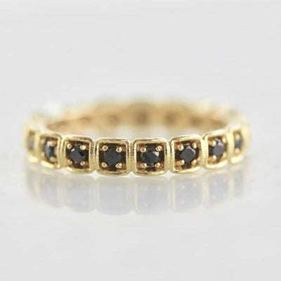 OctaHedron Ring Squared Black Diamond Eternity Band