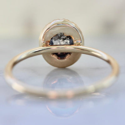 Point No Point Ring Current Ring Size 7.25 Moonshine Oval Rose Cut Salt & Pepper Diamond Ring