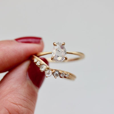 Point No Point Ring Kacy Rose Cut Diamond Ring Set