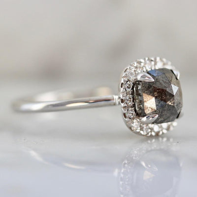 Point No Point Ring Sabine Black Cushion Cut Diamond Ring