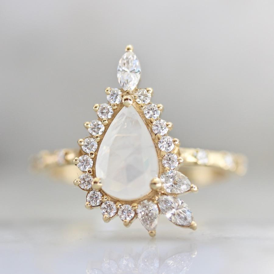 Porter Gulch Ring Moonlight  Pear Cut Opalescent Diamond Magic Ring
