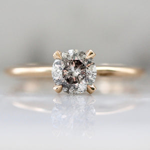 Stella .88 Carat Salt & Pepper Round Brilliant Cut Diamond Ring in Peach Gold