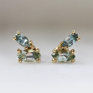 Ruta Reifen Earrings Victory Blue Green Sapphire Earrings
