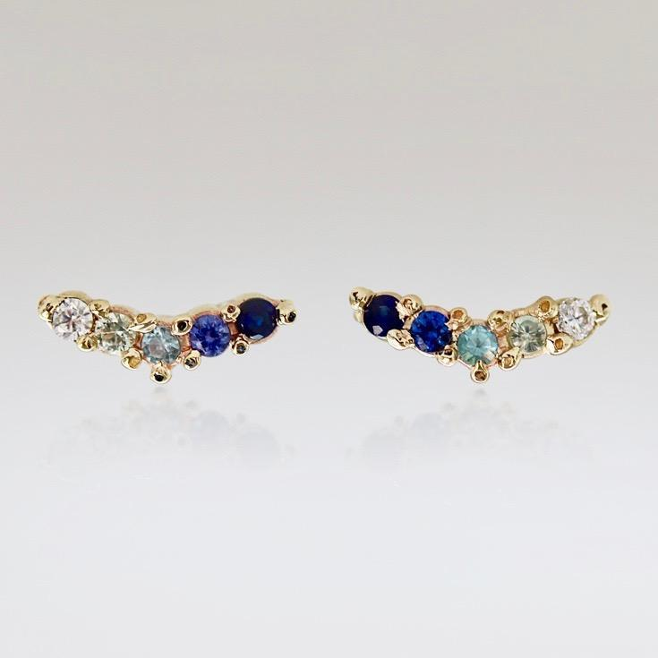 Ruta Reifen Earrings Woosh Blue Sapphire Earrings