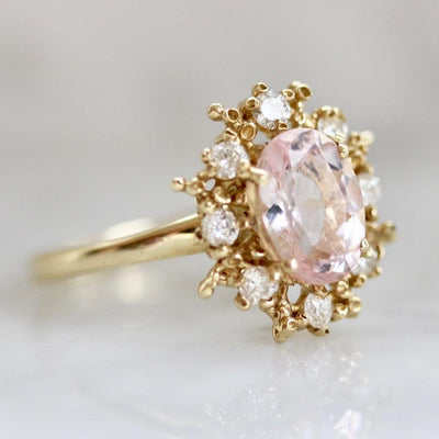 Ruta Reifen Ring Current Ring Size 6.5 Happy Heart Diamond & Morganite Ring