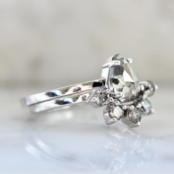 Sonder Fine Jewelry Ring Calliope Salt & Pepper Rose Cut Pear Diamond Ring