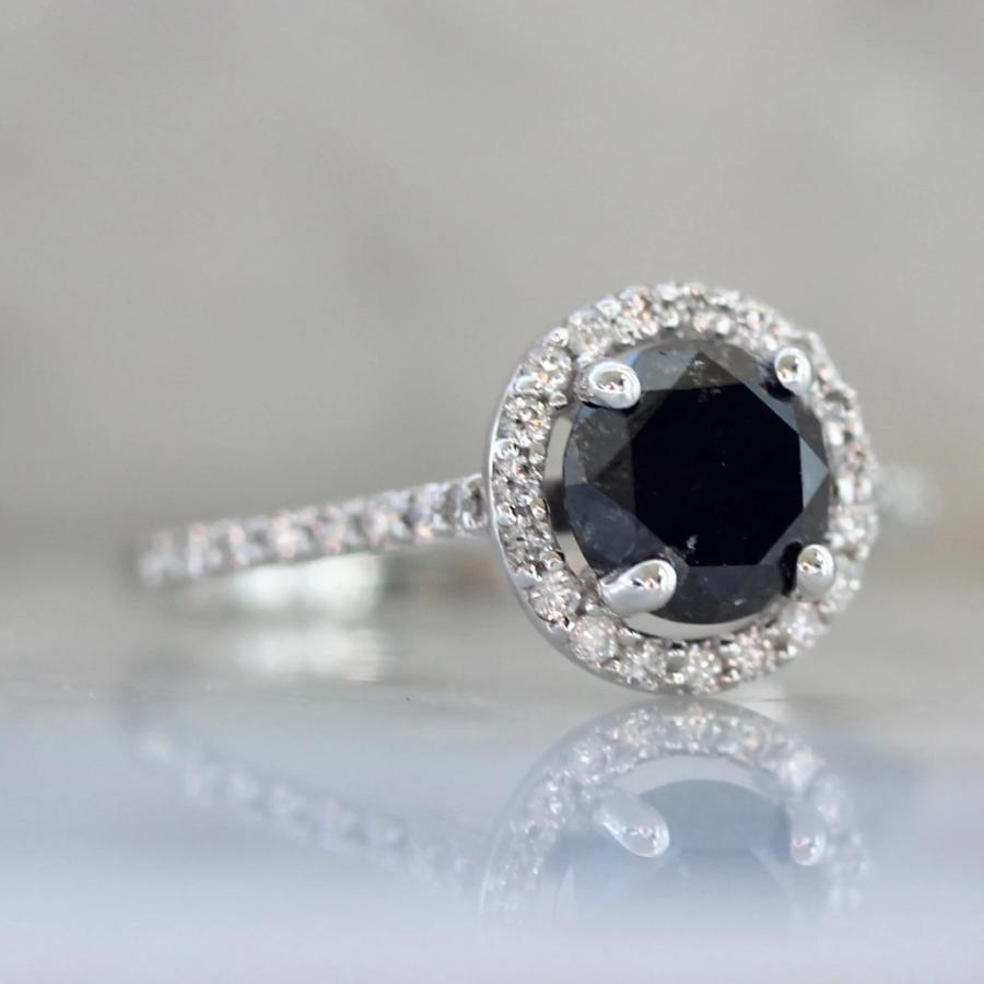 Sonder Fine Jewelry Ring Cassandra Black Diamond Halo Ring in White Gold