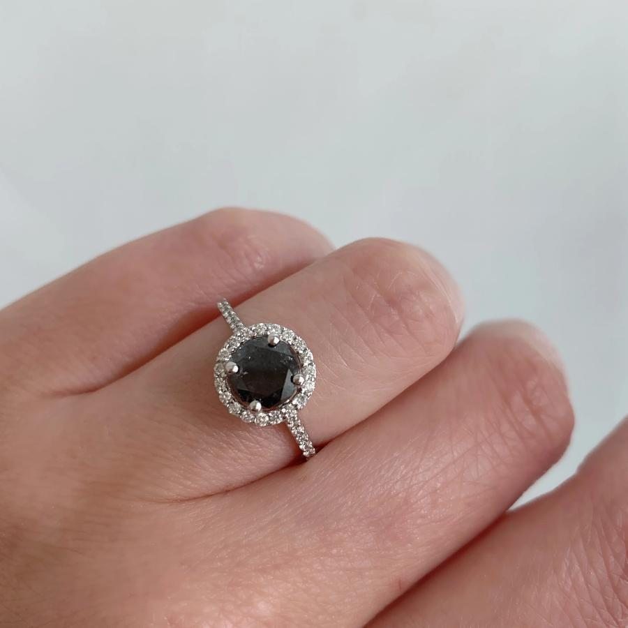 Cassandra Black Diamond Halo Ring in White Gold