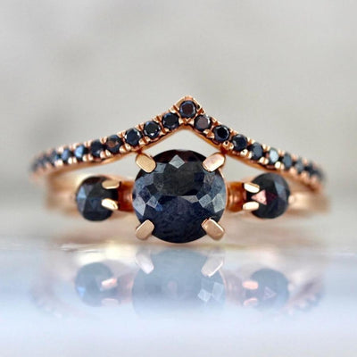 Sonder Fine Jewelry Ring Hecate Three Stone Black Diamond Set