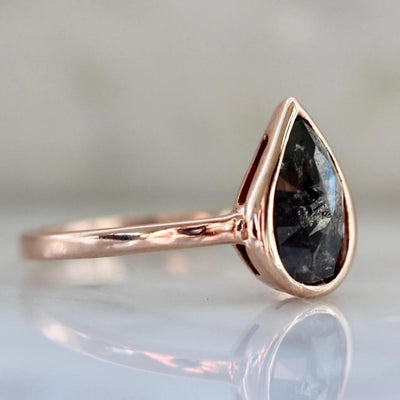 Sonder Fine Jewelry Ring Hestia Salt & Pepper Rose Cut Pear Diamond Ring