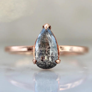 Sonder Fine Jewelry Ring Thalia Salt & Pepper Rose Cut Pear Diamond Ring