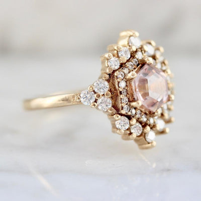 Tippy Taste Ring Rose Morganite & Diamond Ring