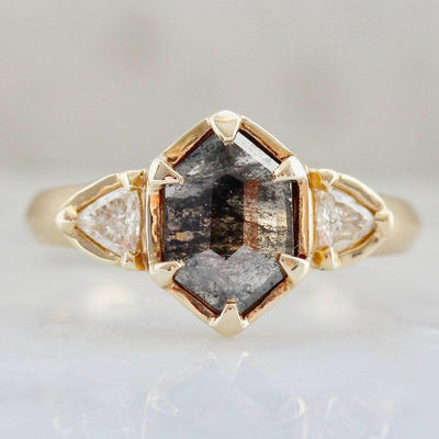 Yuliya Chorna Ring Black Hexagon Diamond Ring