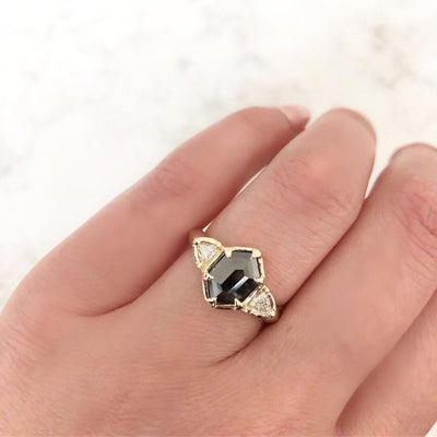 Yuliya Chorna Ring Zodiac Black Hexagon Diamond Ring