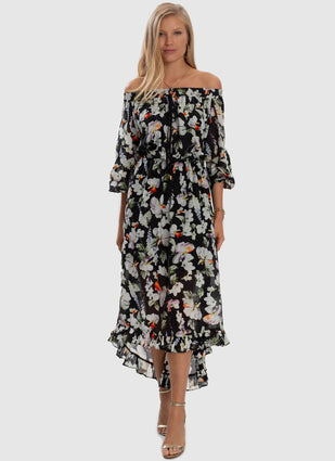 Arcadia Off Shoulder High Low Dress