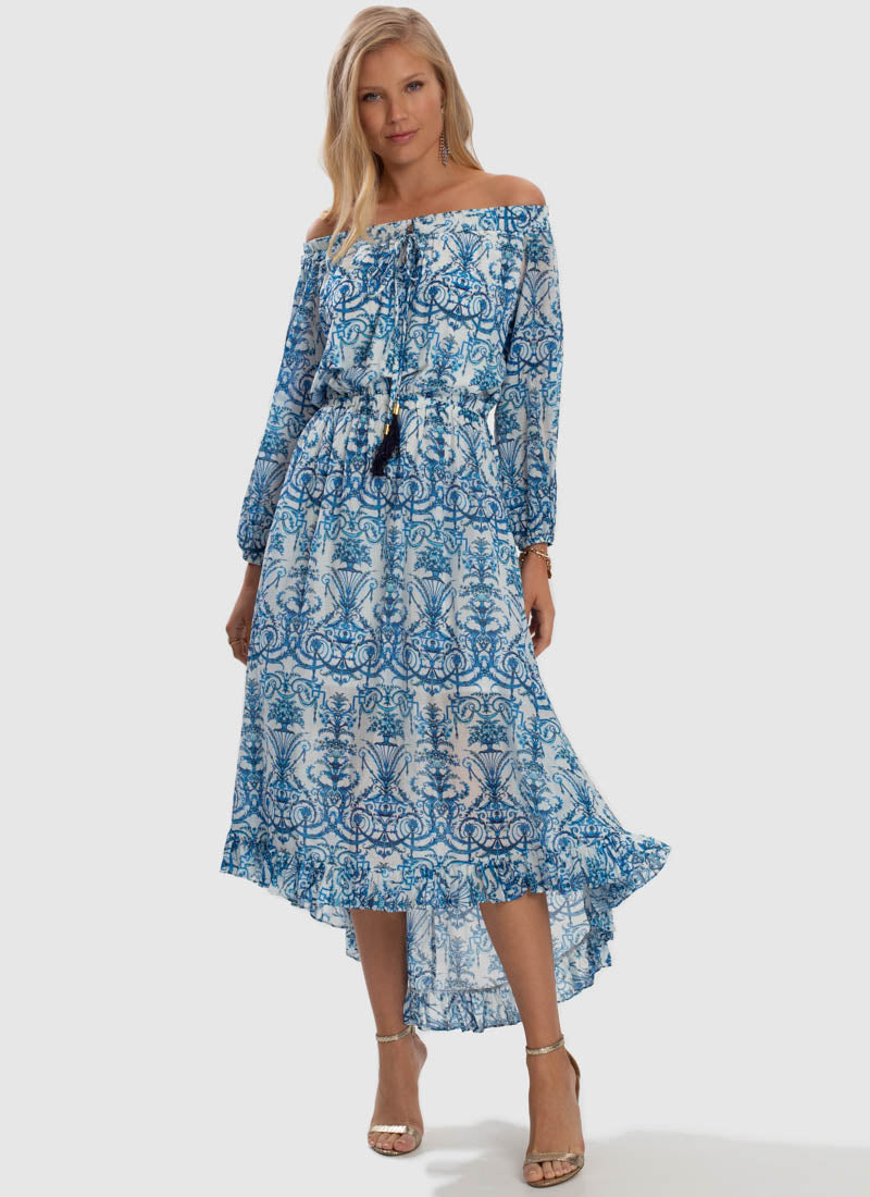 Olympia Off Shoulder High Low Dress