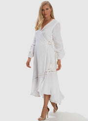 Serenity Spliced Wrap Dress - White