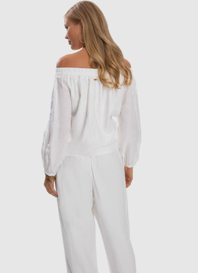 Serenity Relaxed Linen Pant - White