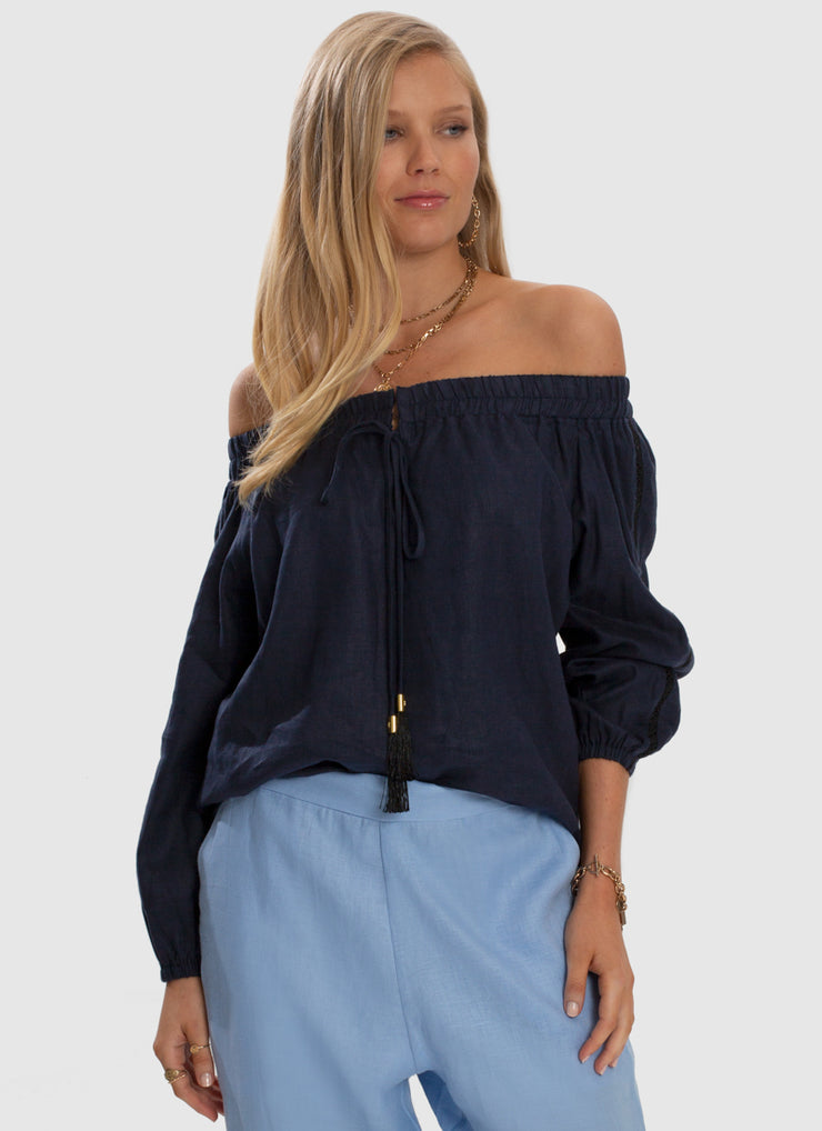 Serenity Off Shoulder Top - Admiral