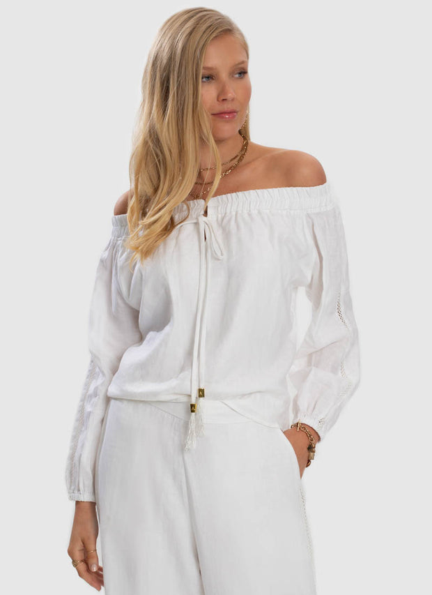 Serenity Off Shoulder Top - White