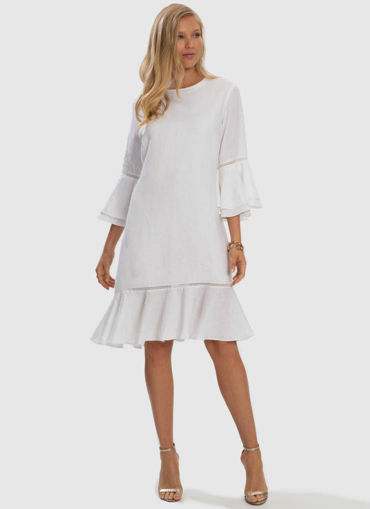 Serenity Peplum Dress - White