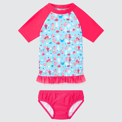 Cupid Girl Tea Party Tutu Rashie and Swim Nappy Set